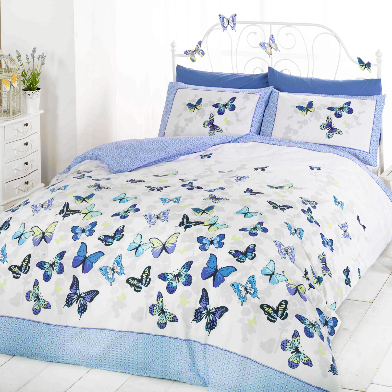 Blue polka dot bedding - Girls Butterfly Bedding Reversible Polka Dot Cotton Rich