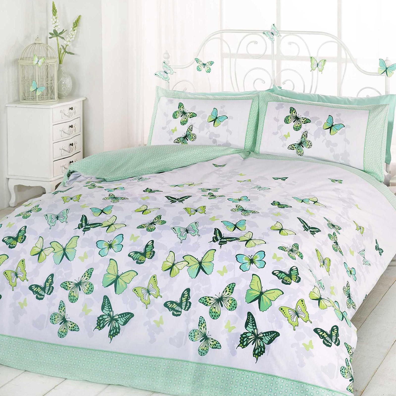 Girls Butterfly Bedding Reversible Polka Dot Cotton Rich