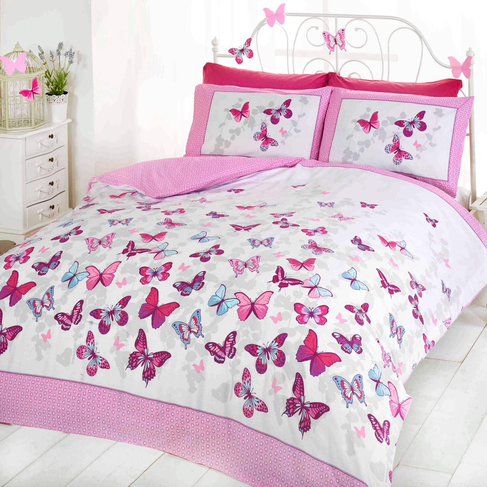 girls butterfly bedding reversible polka dot cotton rich duvet cover bed set ebay. Black Bedroom Furniture Sets. Home Design Ideas