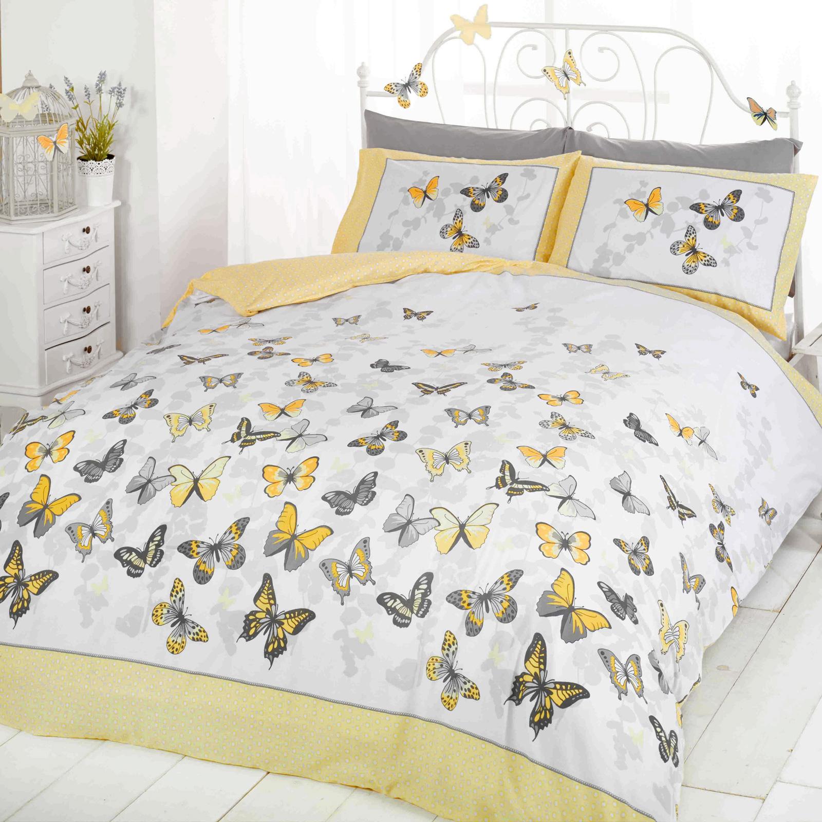 girls butterfly bedding reversible polka dot cotton rich duvet cover bed set ebay. Black Bedroom Furniture Sets. Home Design Ideas