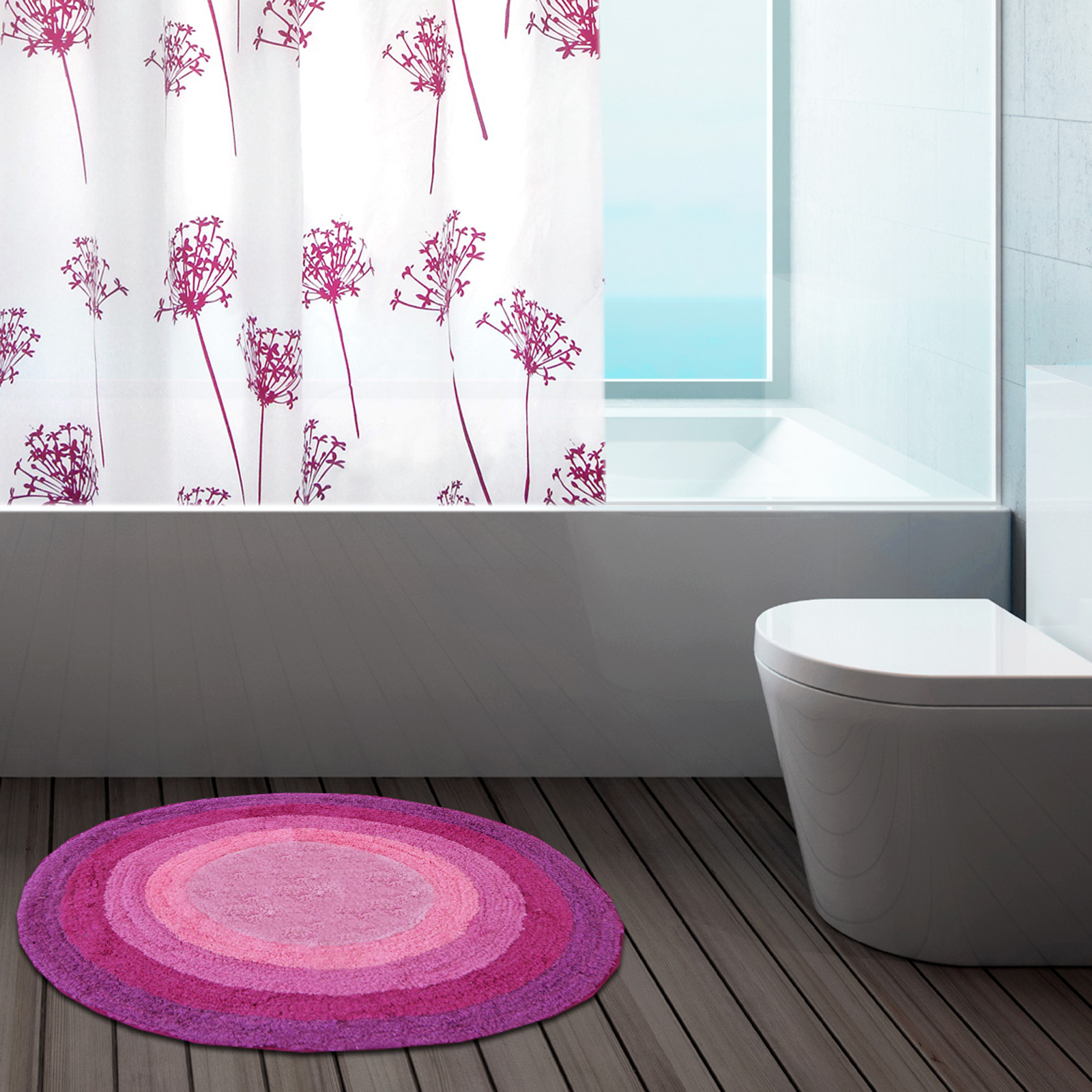 Pink bathroom rug