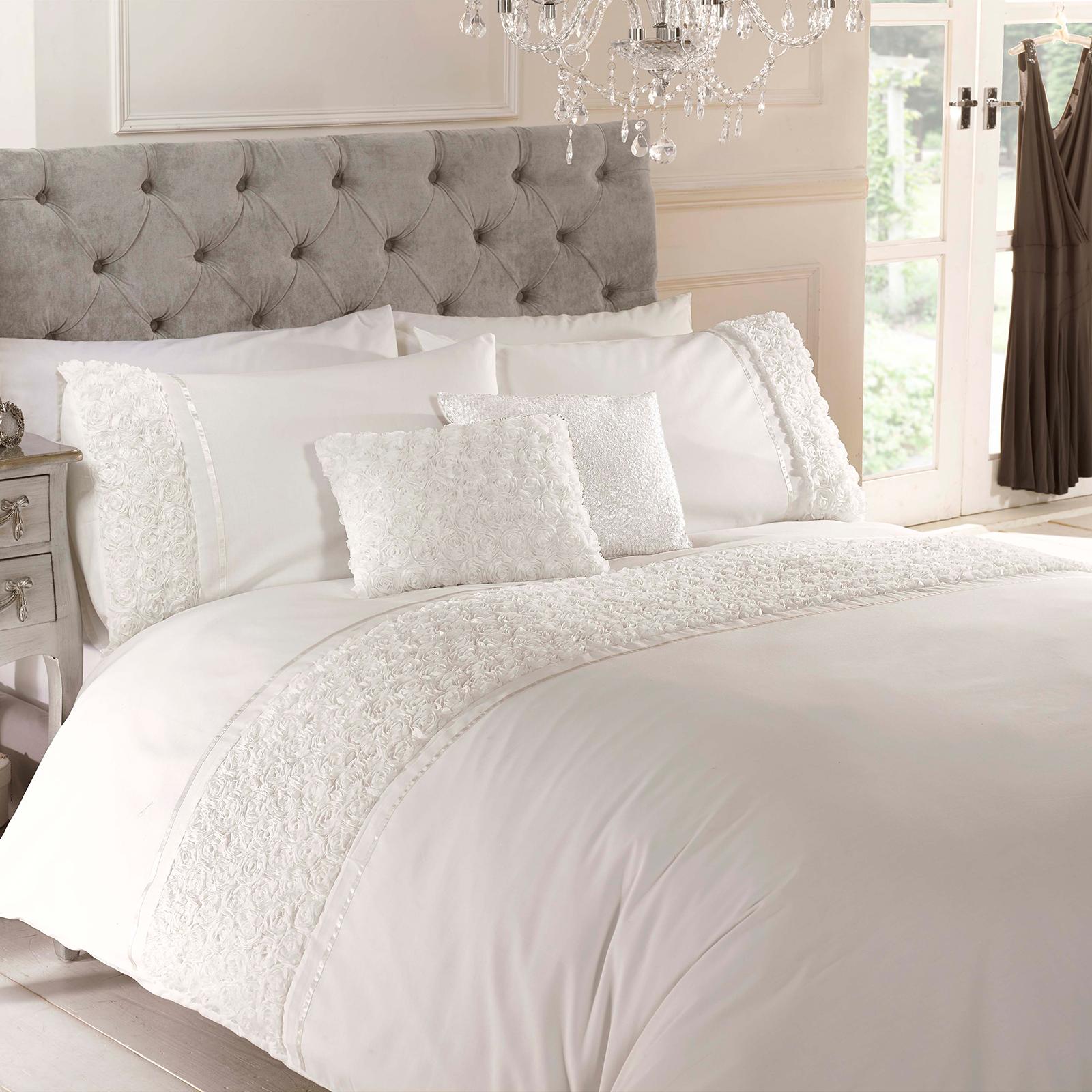 rose floral ruffle duvet quilt cover  vintage chic bedding set   - rosefloralruffleduvetquiltcovervintagechic