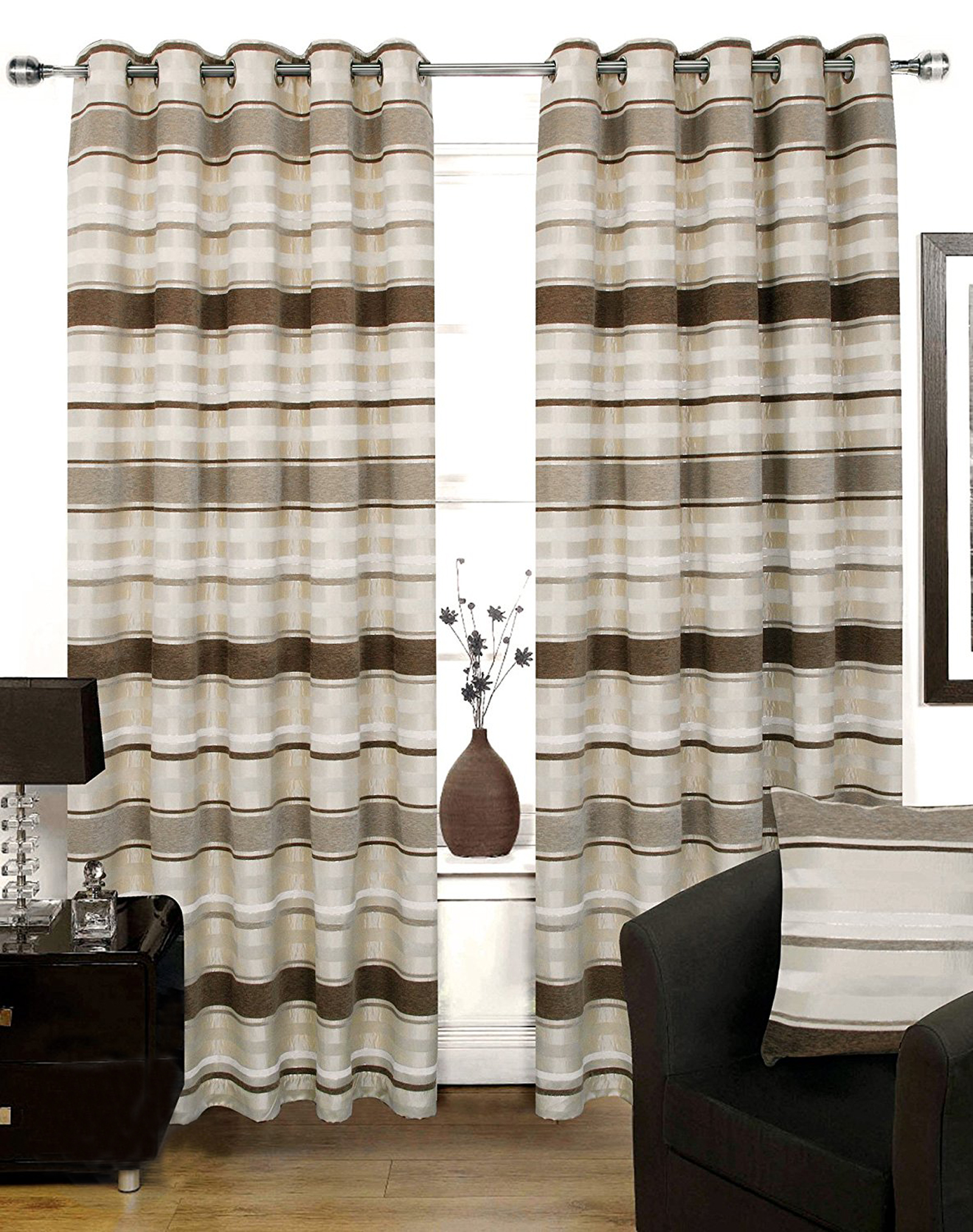 Silk Curtains For Living Room Chenille Amp Faux Silk Curtains Luxury Striped Eyelet Ring Top