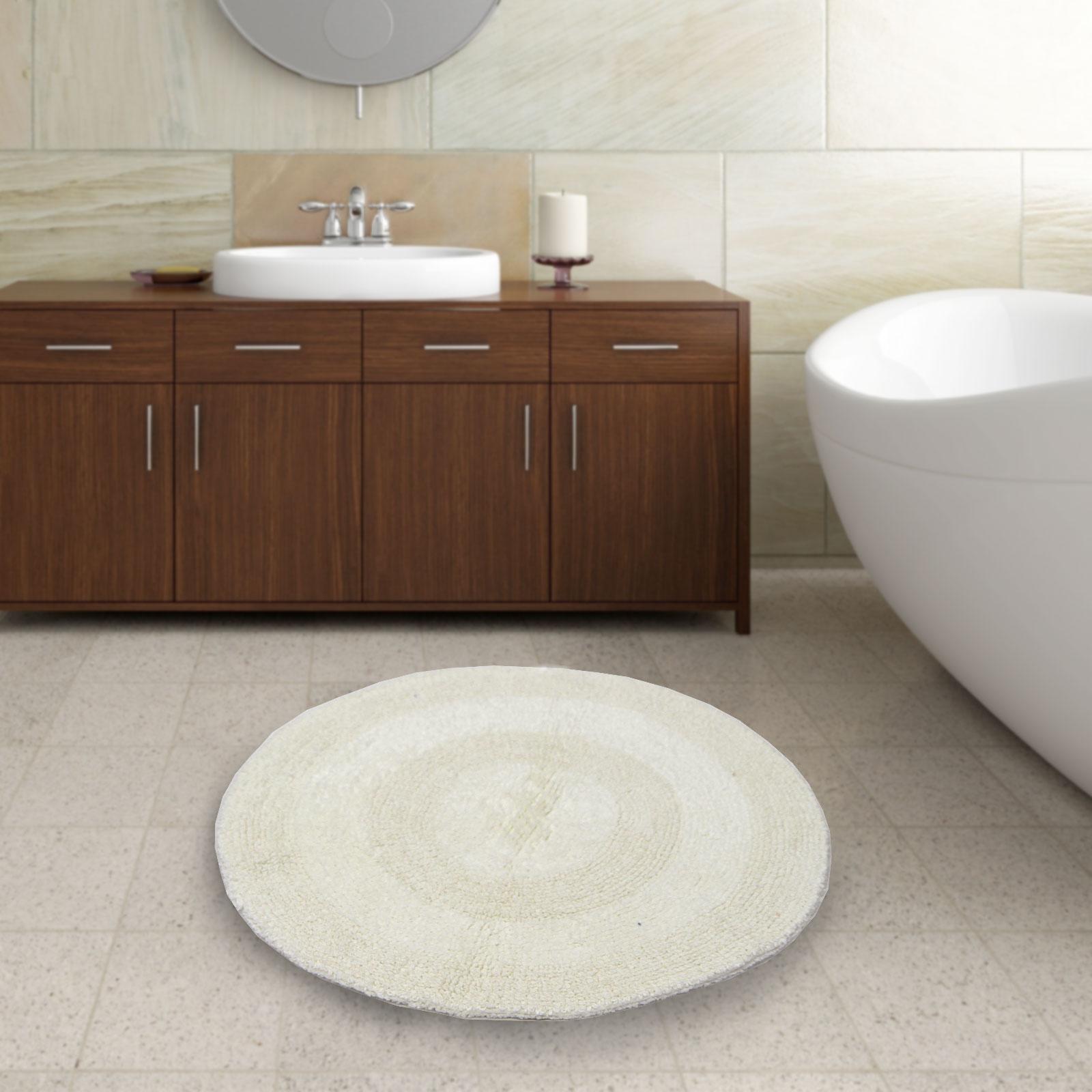 100% Cotton Plain Round Circular Bath Mat - Thick & Soft - Washable - 60cm