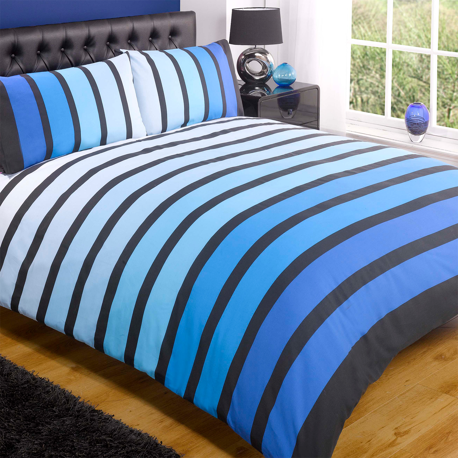 striped poly cotton duvet cover modern quilt cover bedding bed set. Black Bedroom Furniture Sets. Home Design Ideas
