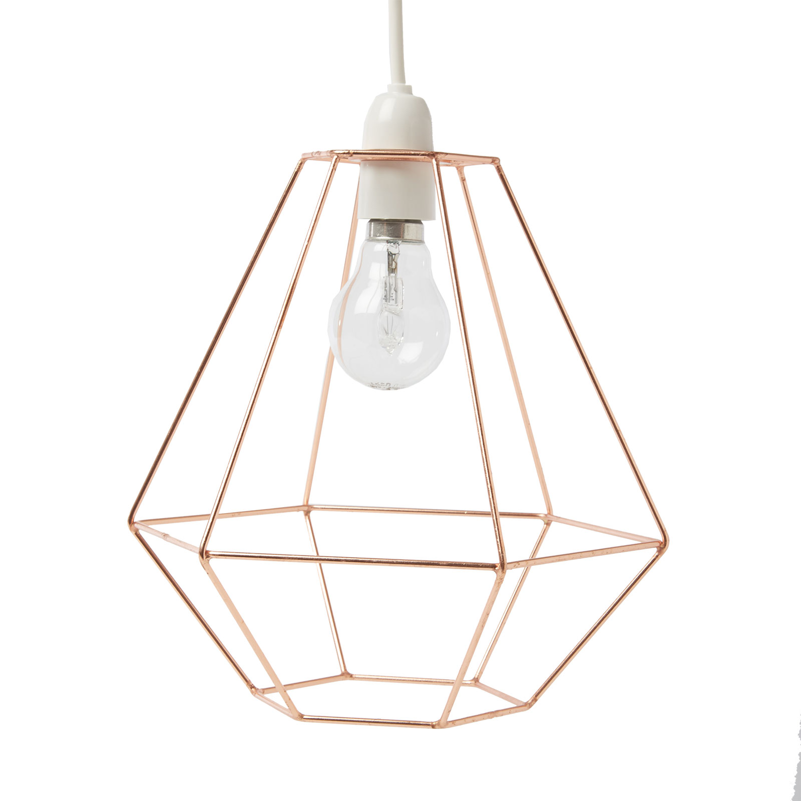geometric metal copper wire frame ceiling lampshade pendant modern retro style ebay. Black Bedroom Furniture Sets. Home Design Ideas
