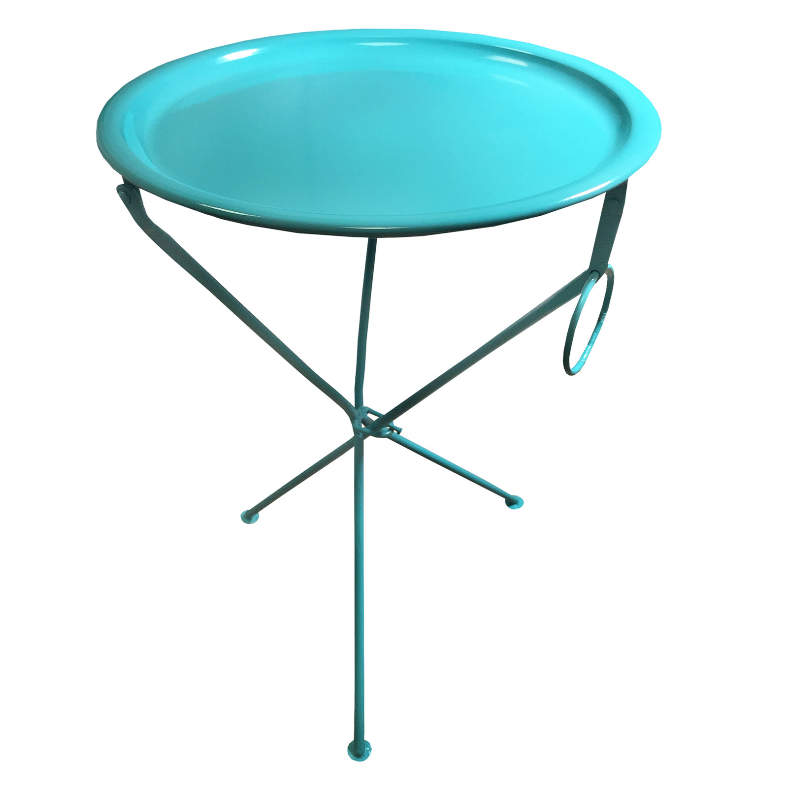 Bright Coloured Metal Folding Coffee Side Table With Round Serving Tray Ebay
