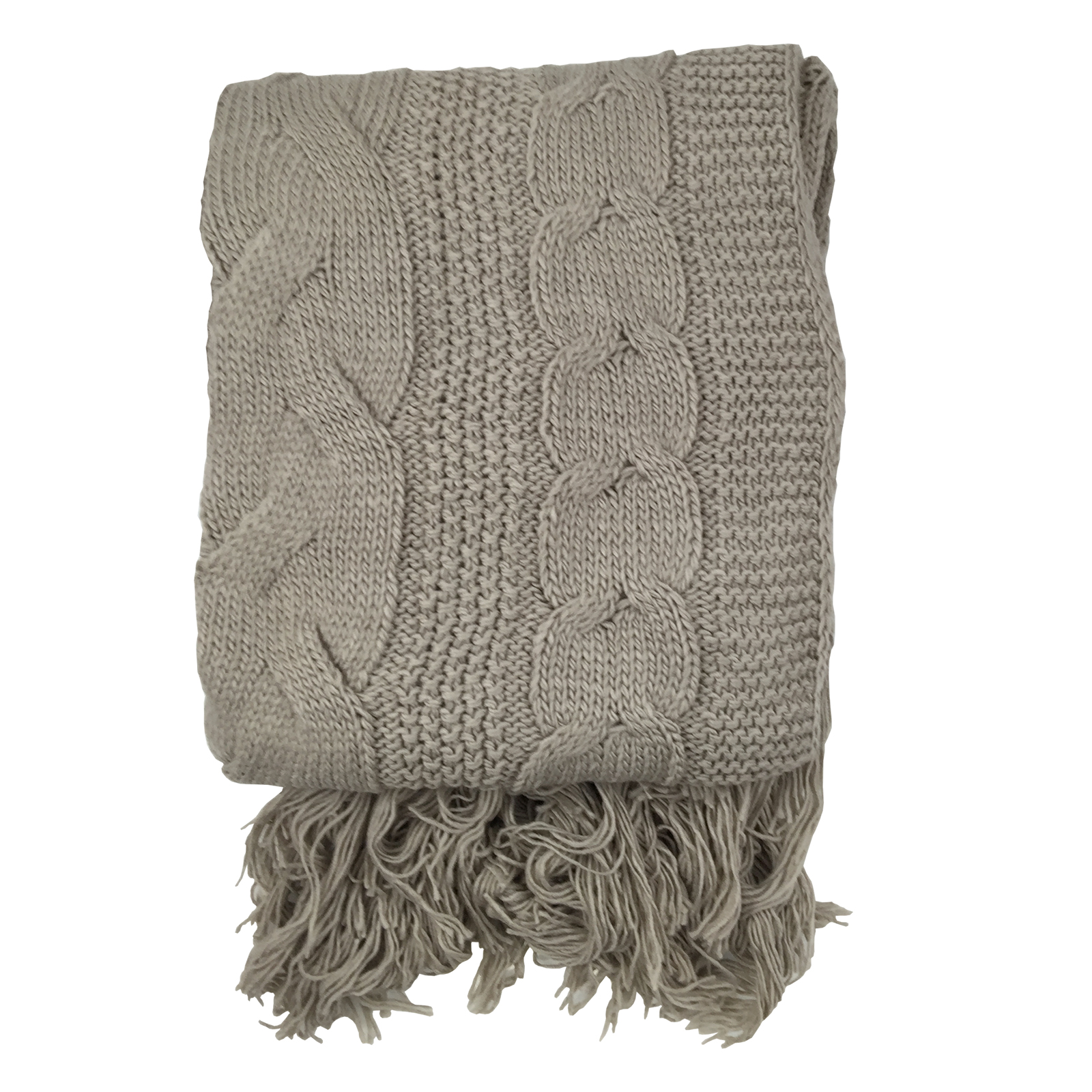 Soft Cable Stitch Knitted Throw Blanket with Tasselled Edge   For Sofas &...