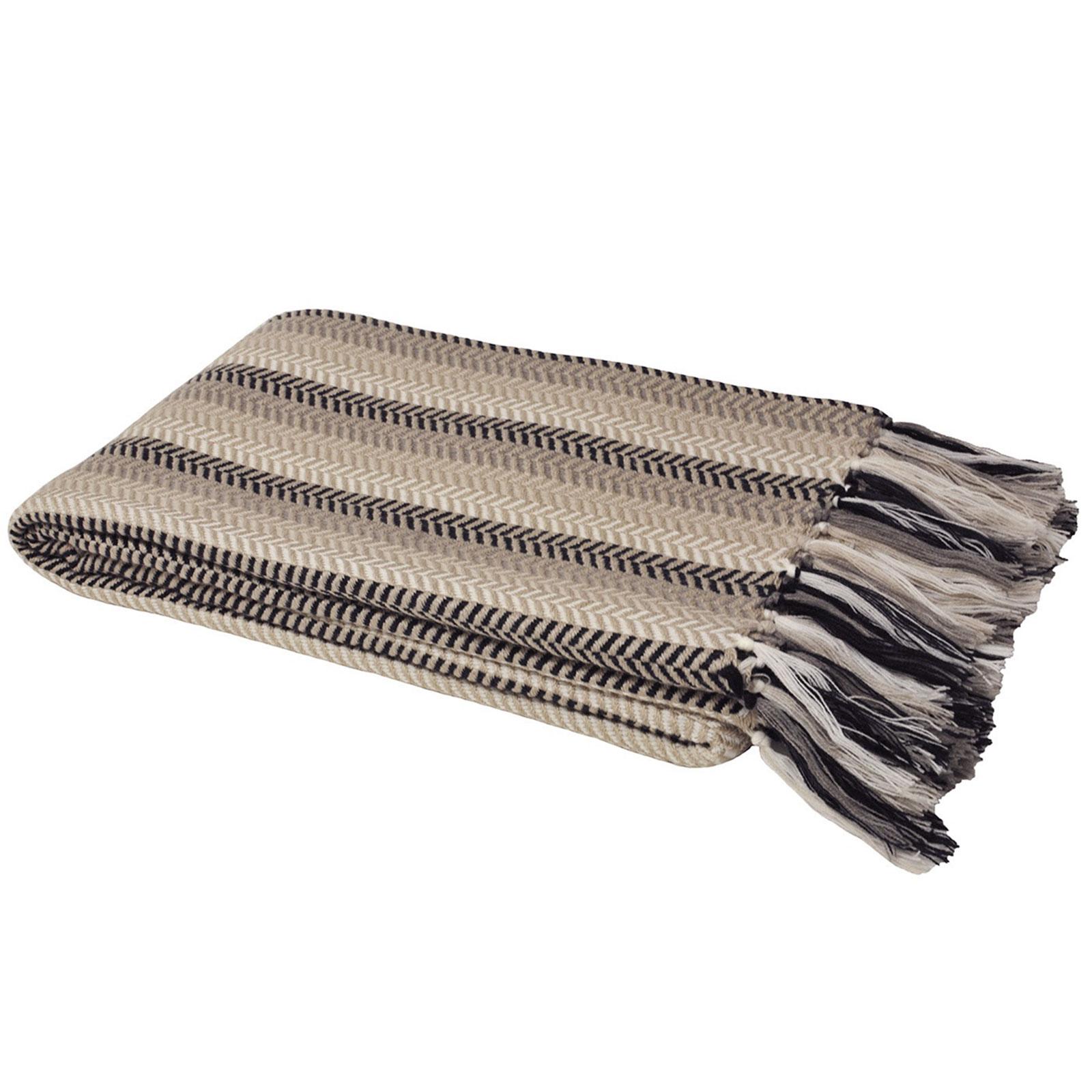 Knitted Herringbone Fringe Throw Over Blanket For Sofa