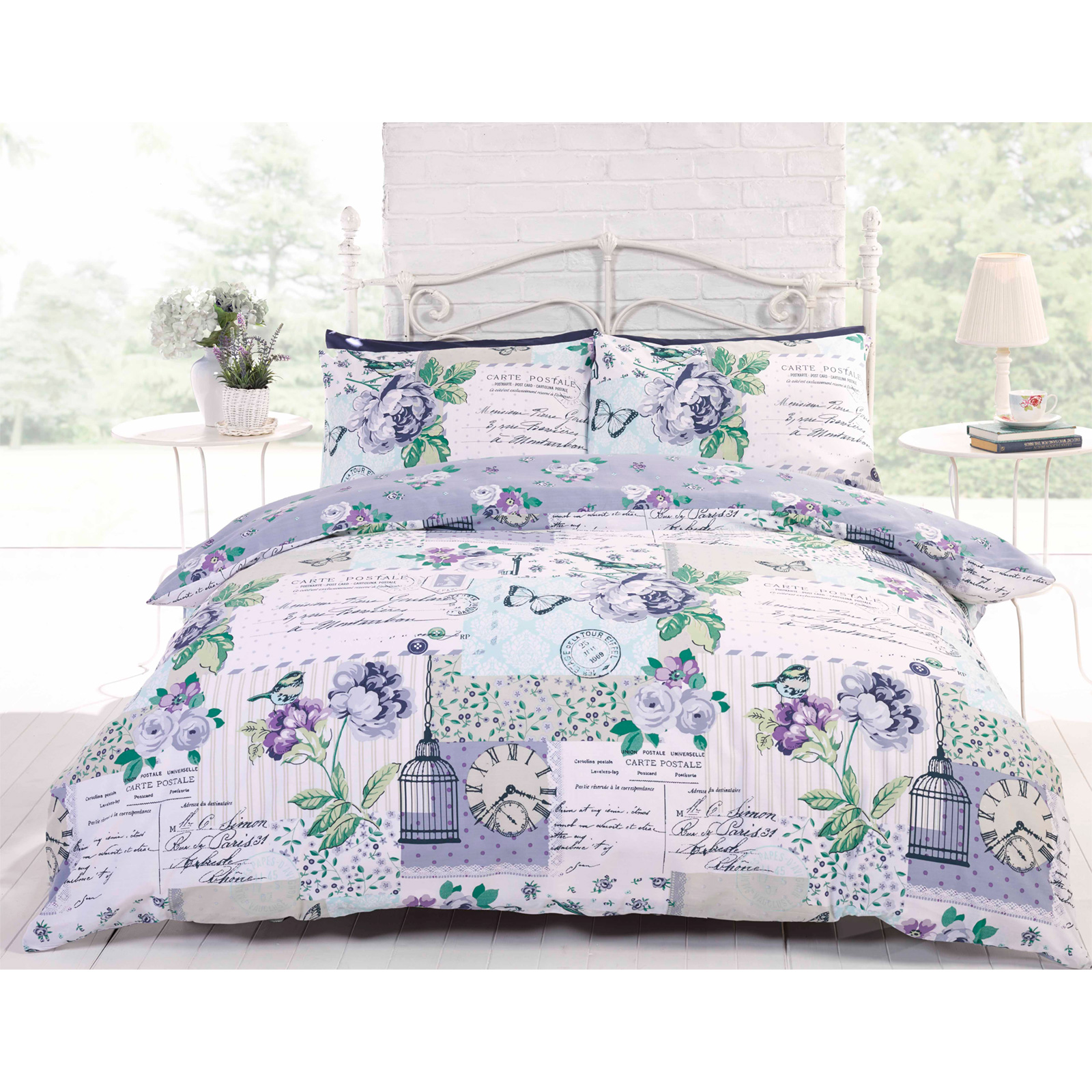 fran ais patchwork parure de lit avec housse de couette avec floral roses papillon post card. Black Bedroom Furniture Sets. Home Design Ideas