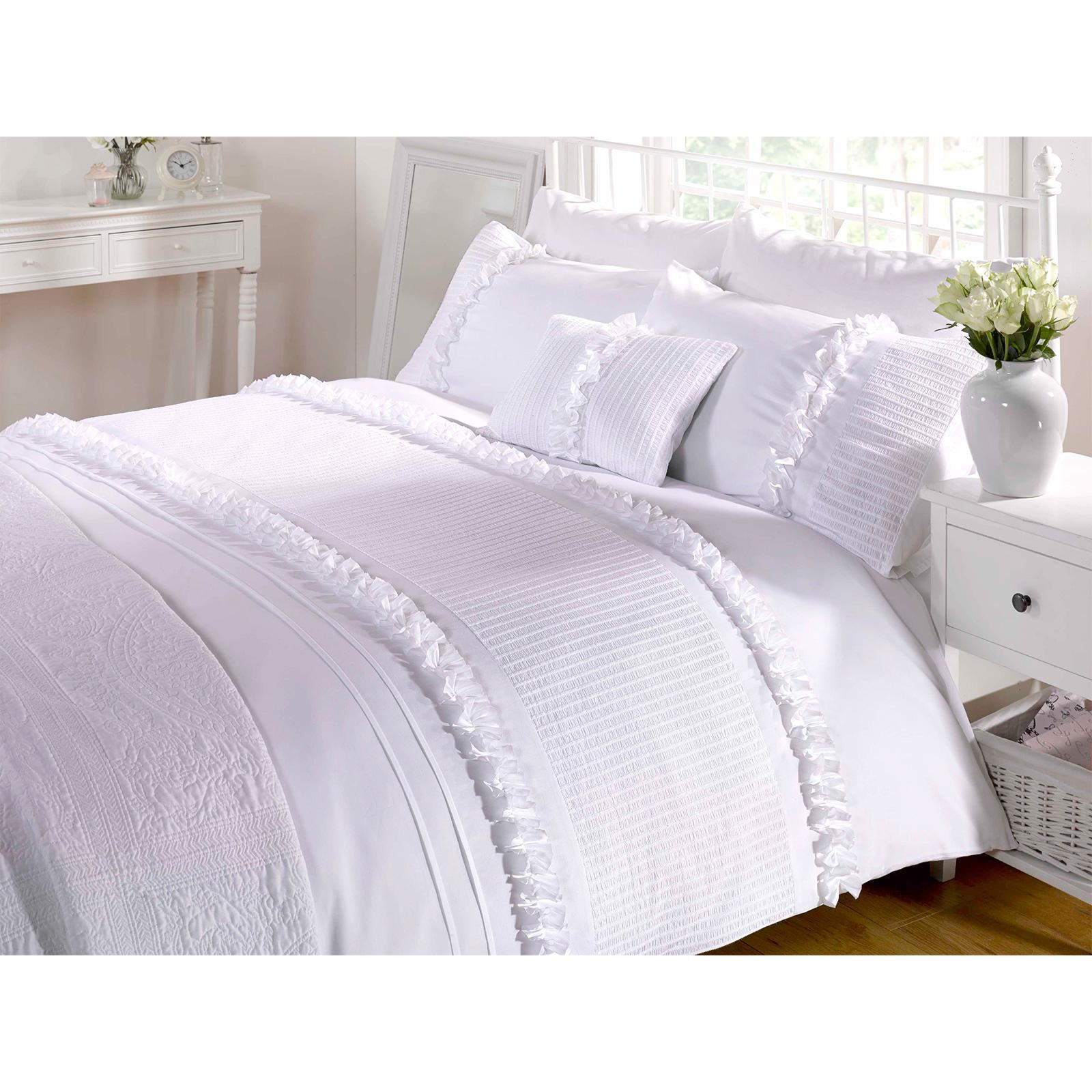 vintage chic ruffle duvet quilt cover seersucker bedding