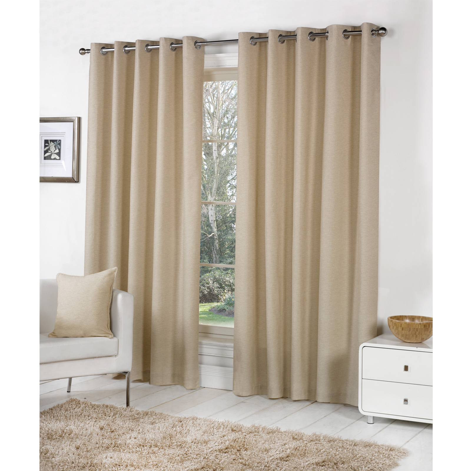 Plain dyed cotton curtain pair ready made fully lined for Living room curtains 90x90