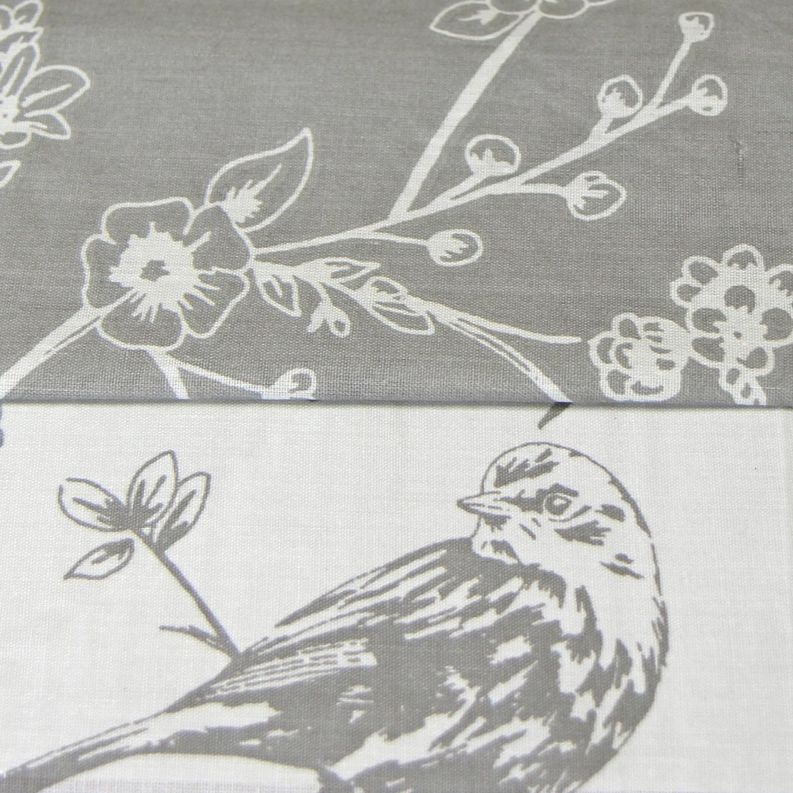 French Toile Duvet Quilt Cover - Reversible Floral Bird Bed Set + Pillow Case