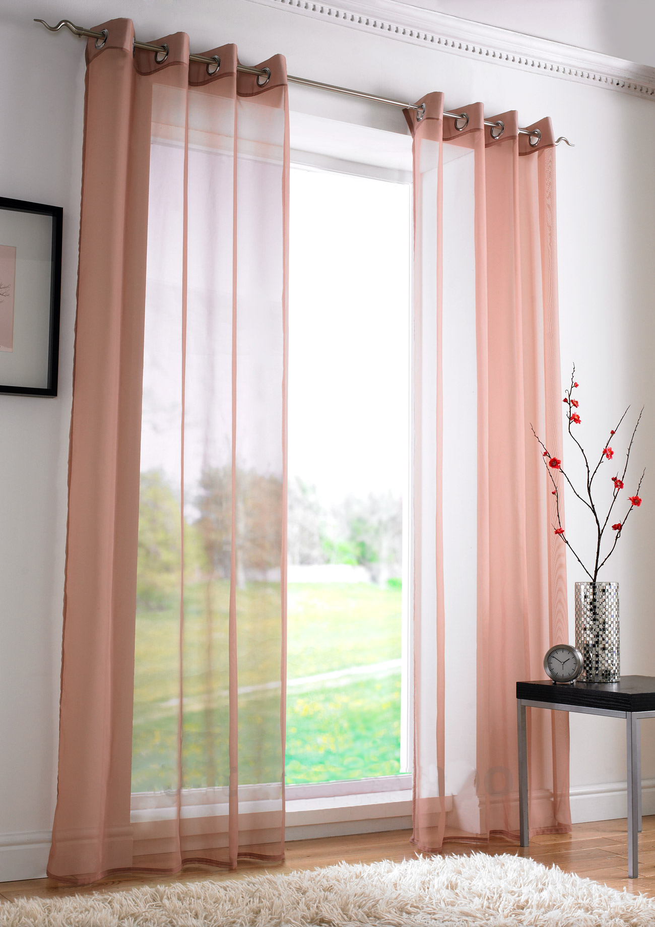 plain eyelet voile net curtains ring top ready made. Black Bedroom Furniture Sets. Home Design Ideas