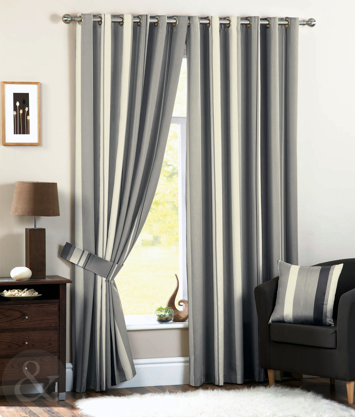 Luxury Striped Faux Silk Curtains Ready Made Eyelet Ring