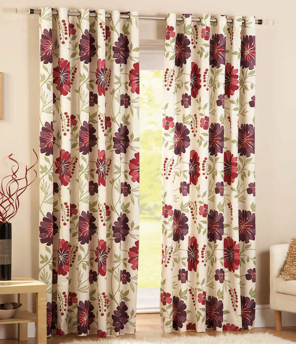 Cotton Canvas Black Eyelet Lined Curtain: HEAVY CANVAS Poly Cotton Eyelet Curtains