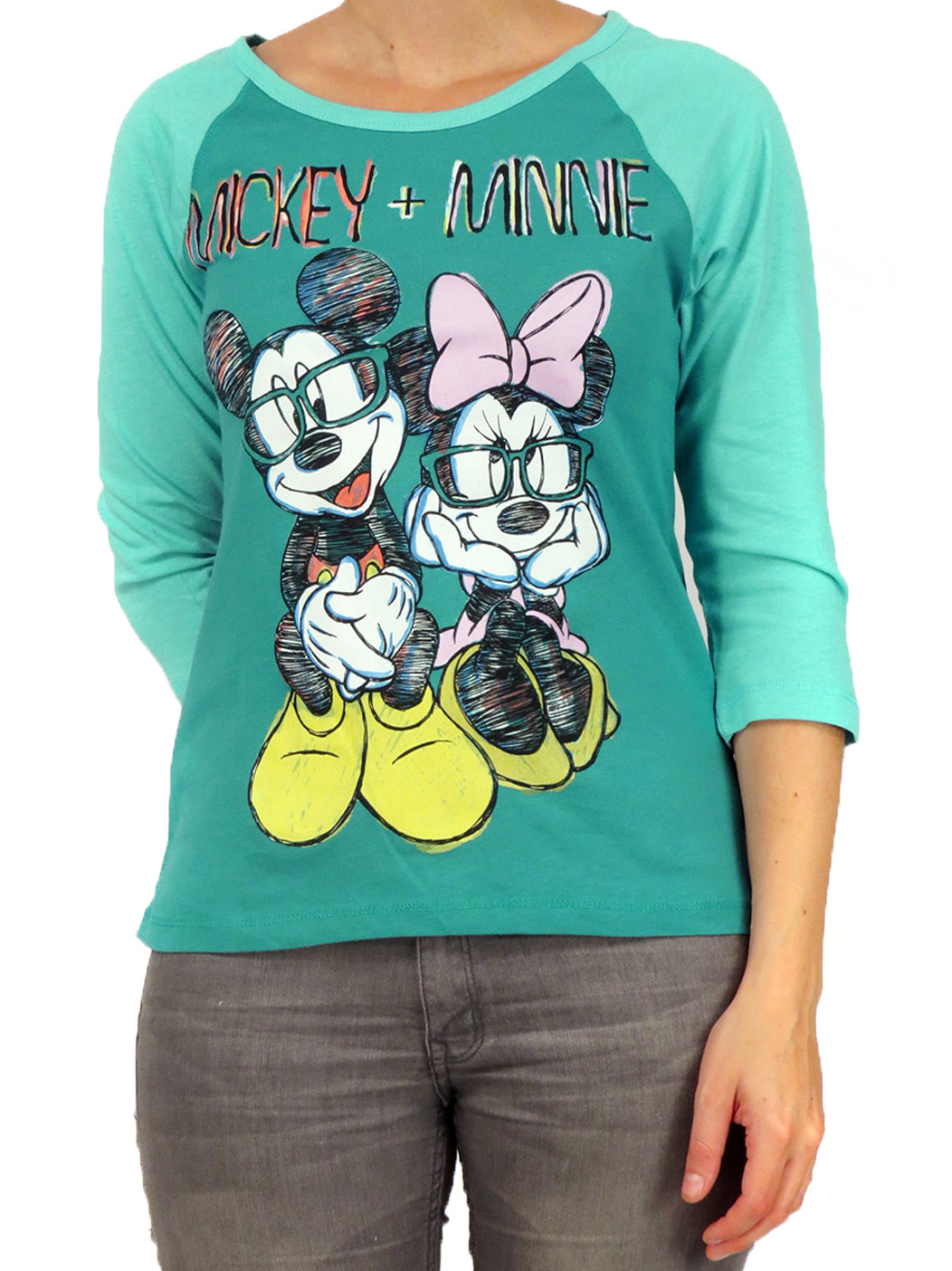 Disney Mickey & Minnie Mouse Sketch Teal 3/4 Sleeve Juniors Raglan T-Shirt Top at Sears.com