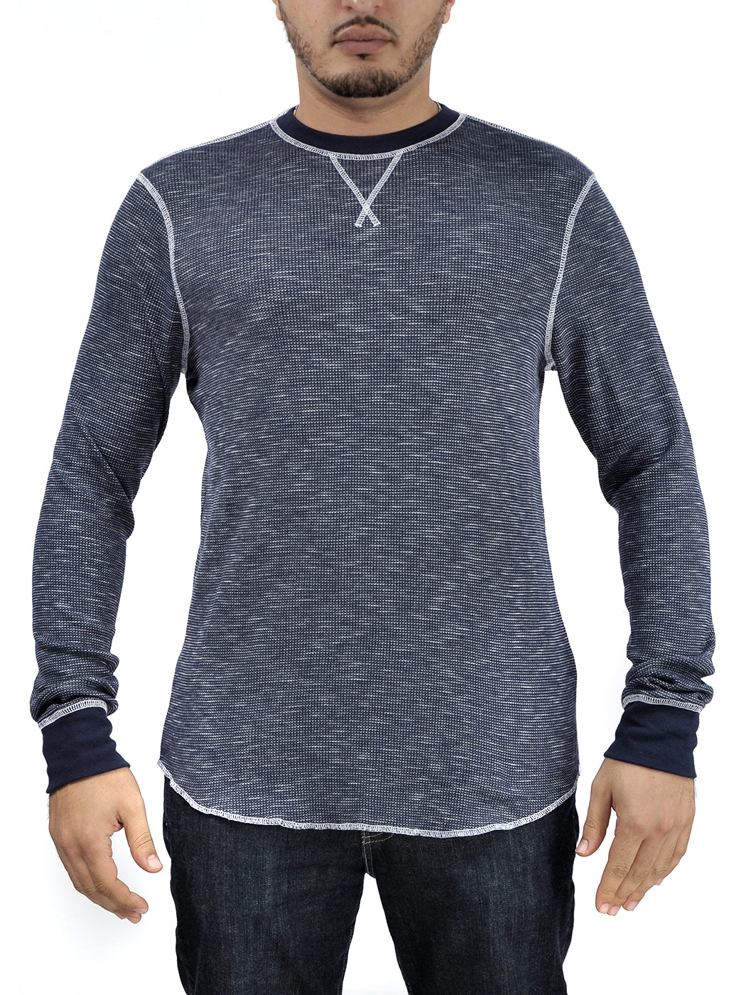 Helix long sleeve mens distressed thermal shirt top black for Black and blue long sleeve shirt