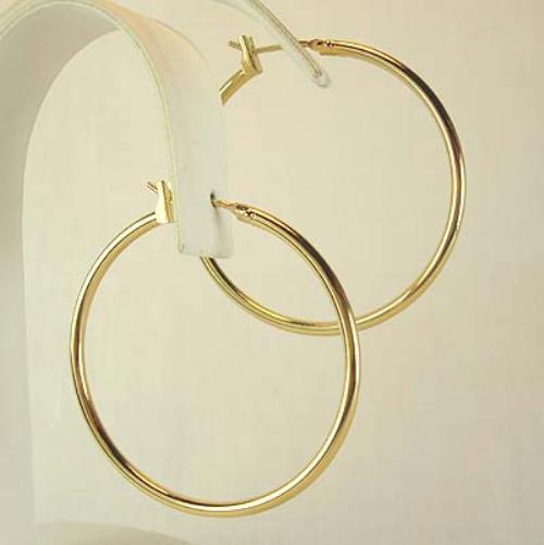 2 5 Mm Earrings: 1 3/8 Inch Hoop Earrings In 18K Gold Plated 2 Mm Wide