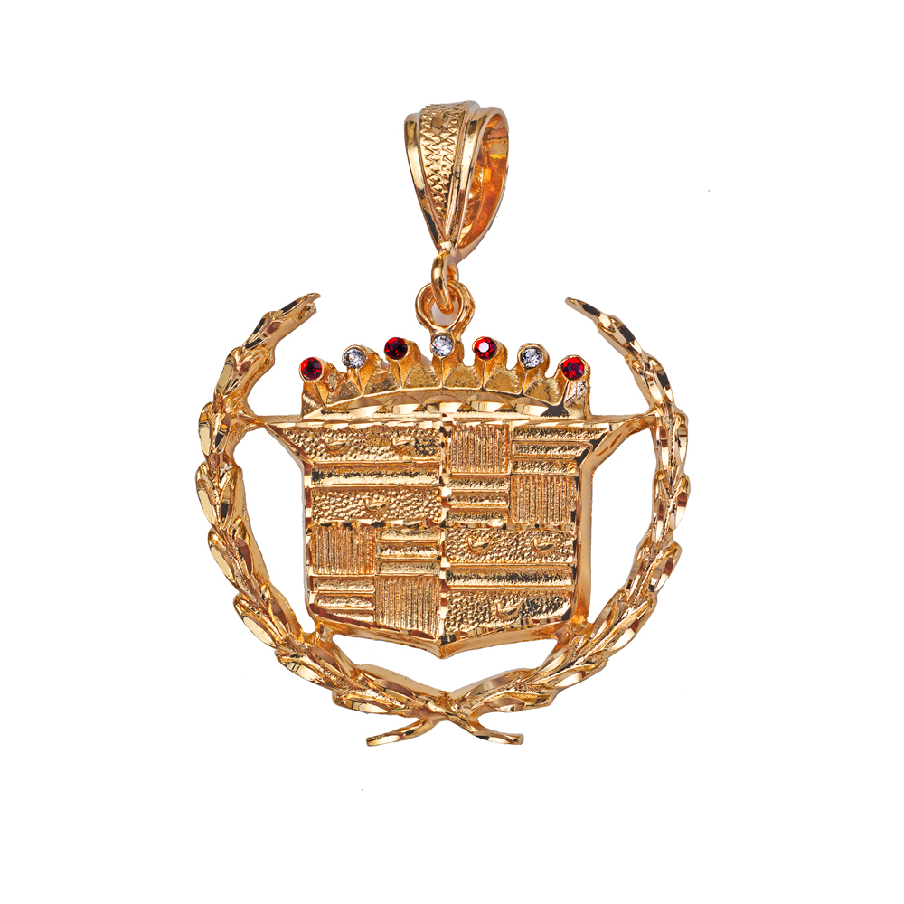 New very large 18k gold plated cadillac pendant lifetime for Is gold plated jewelry worth anything