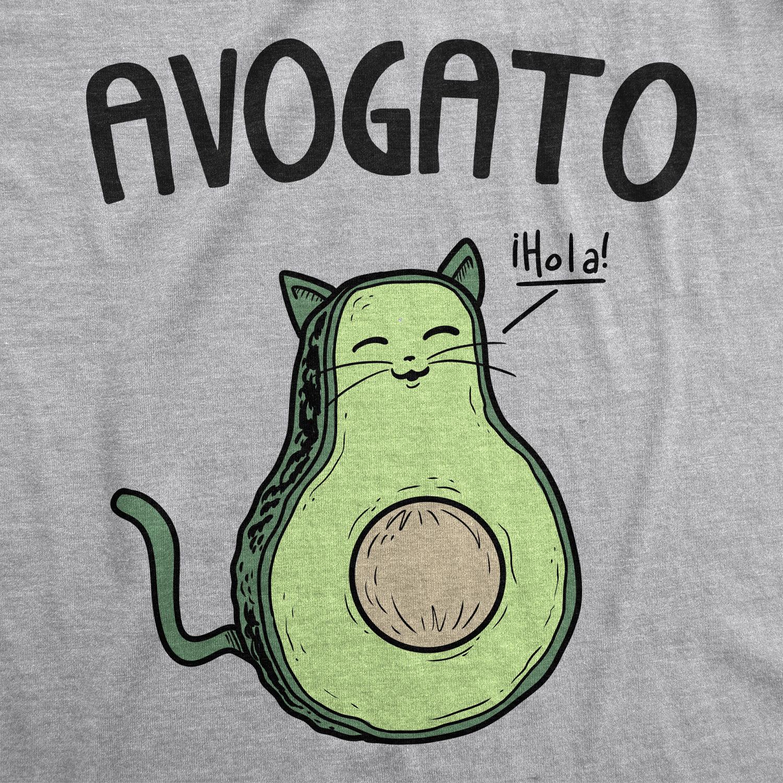 Womens Avogato Funny T shirt Avocado Cat Cute Cat Face Novelty Tee