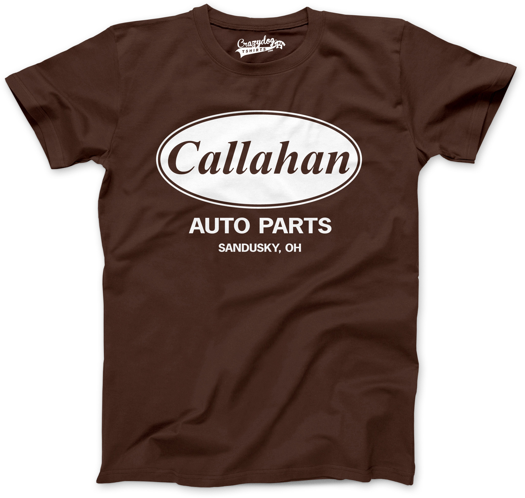 Men 39 s callahan auto parts t shirt funny logo novelty for Silly shirts for men