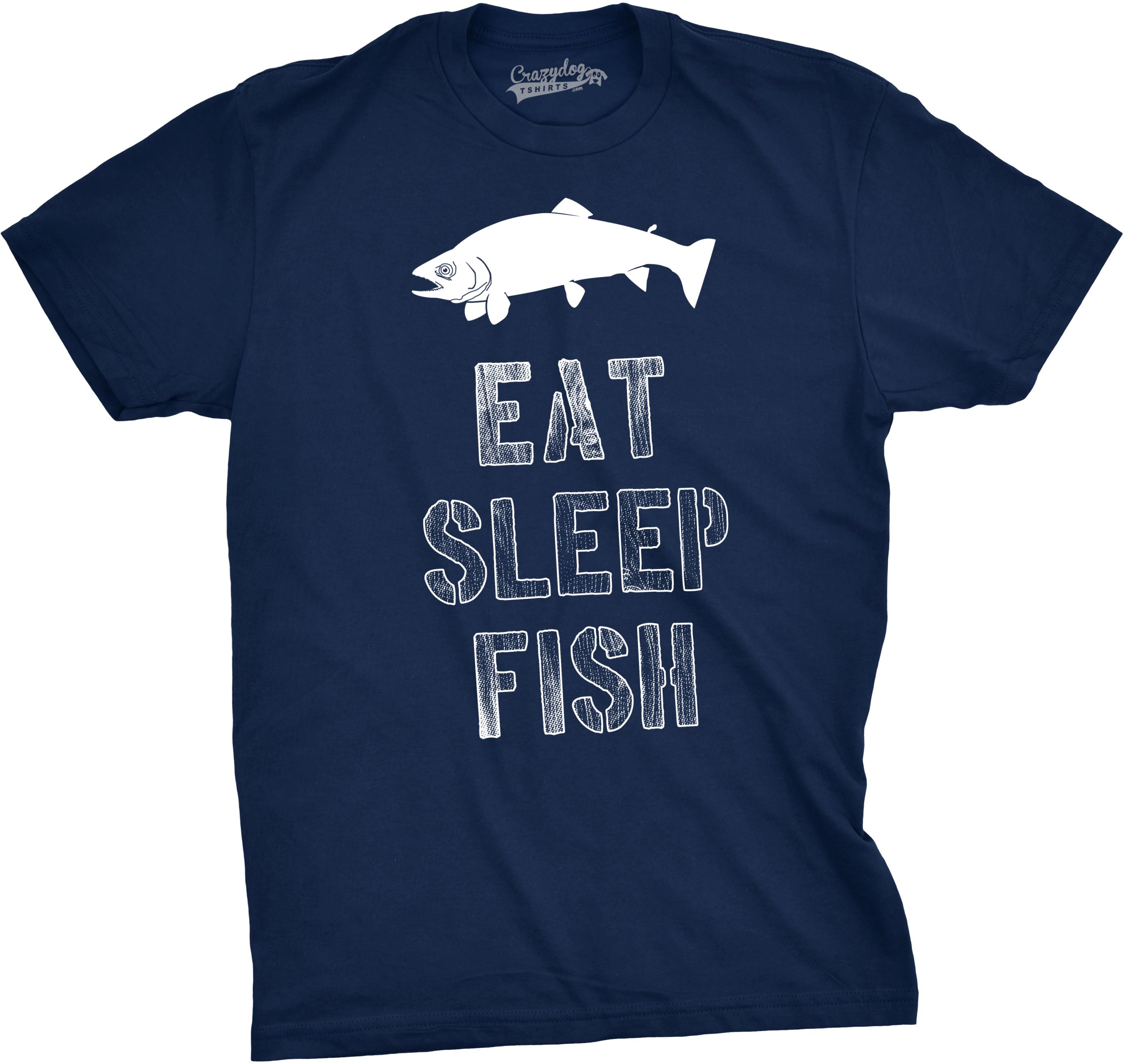 mens eat sleep fish t shirt funny vintage fishing outdoors