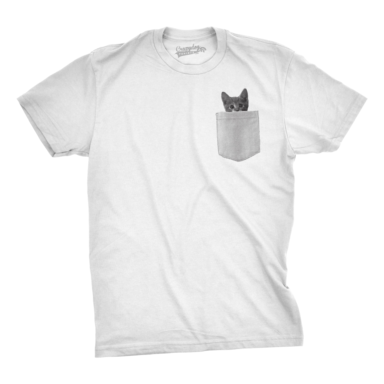 Mens pocket cat t shirt funny printed peeking pet kitten for Where to get t shirts printed