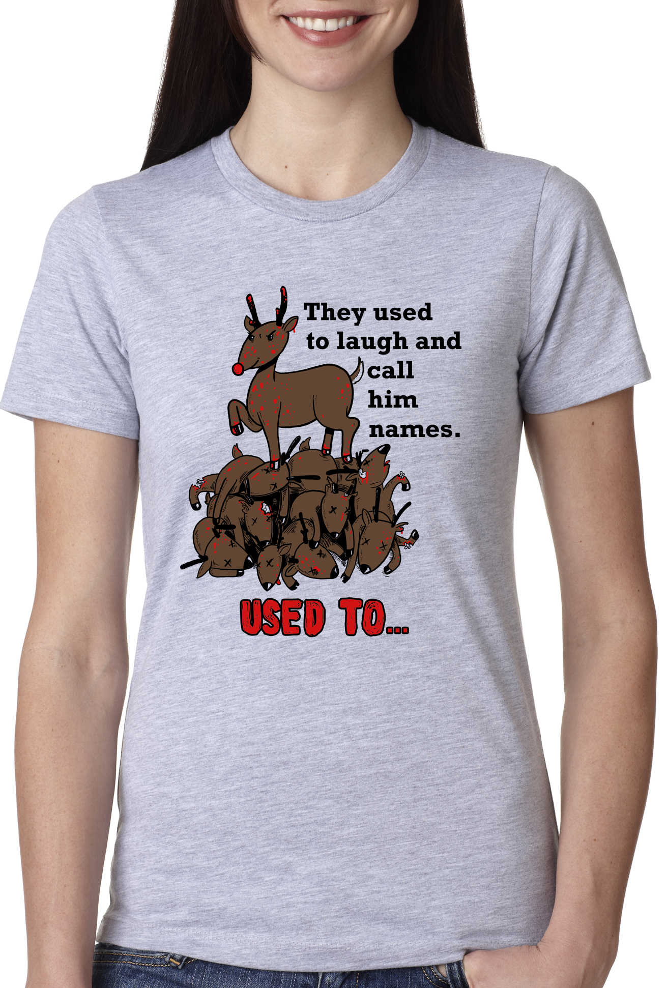 women 39 s rudolph the psychopath reindeer t shirt funny christmas tee for women ebay. Black Bedroom Furniture Sets. Home Design Ideas