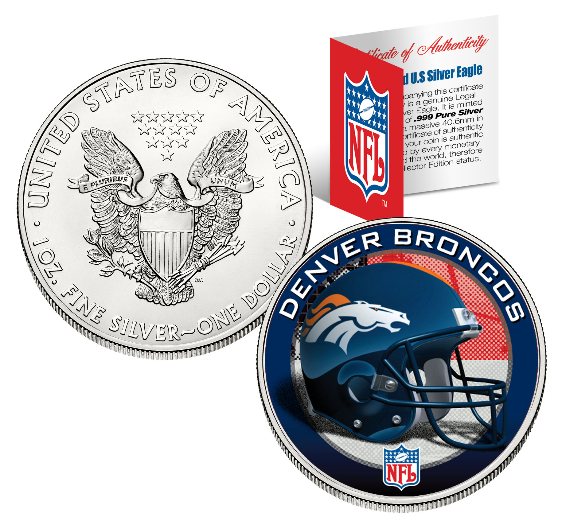 Denver Broncos 1 Oz American Silver Eagle 1 Us Coin