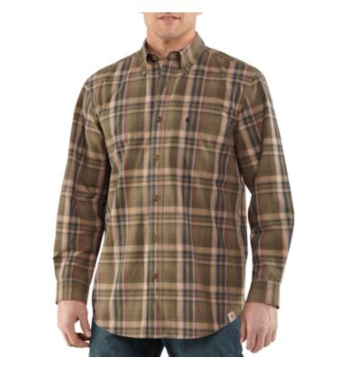 Carhartt mens bellevue plaid long sleeve shirt 100588 for Mens plaid shirts long sleeve