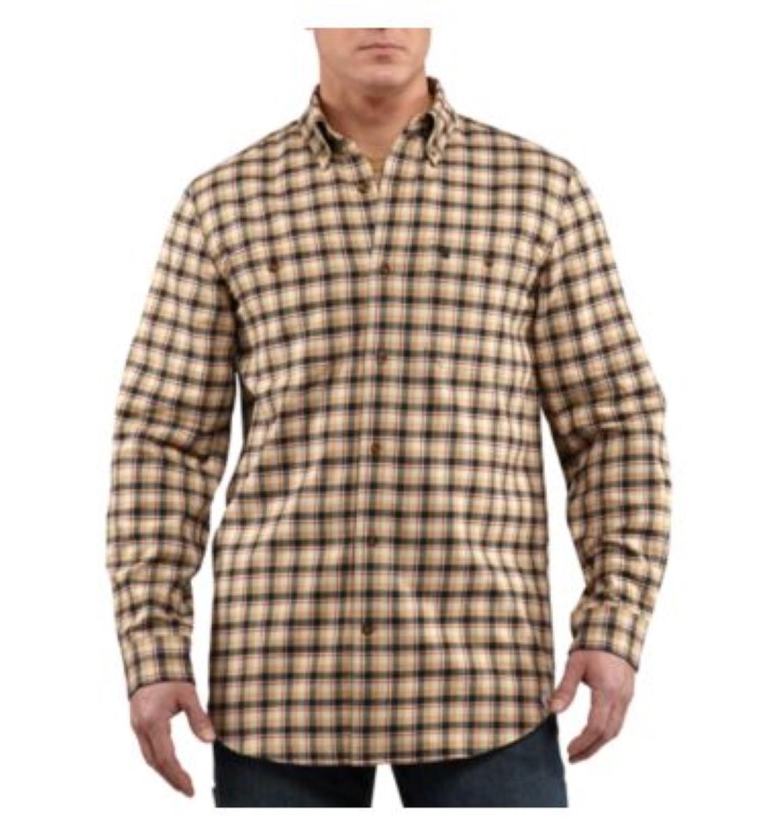 Carhartt mens trumbull plaid shirt long sleeve 100597 for Carhartt men s chamois long sleeve shirt