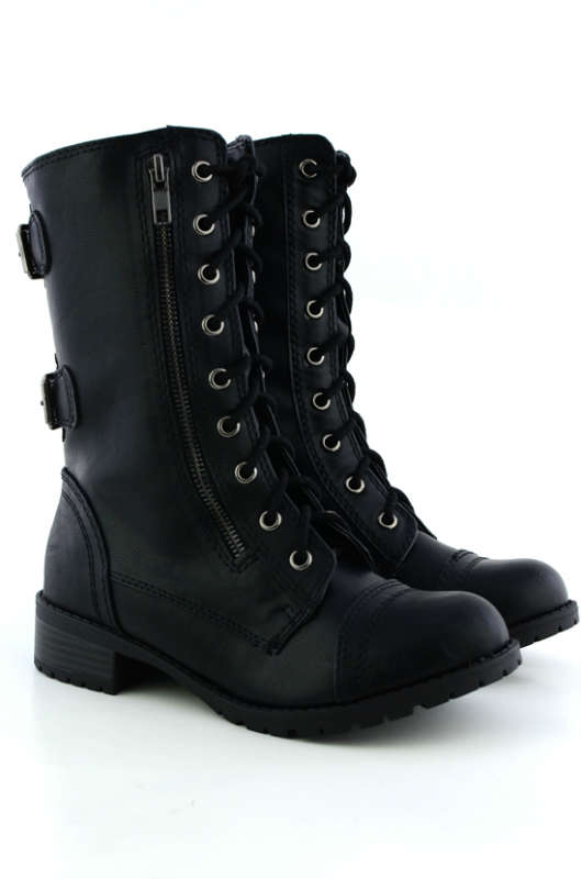 Soda Dome Mid Calf Height Women's Military / Combat Boots ...