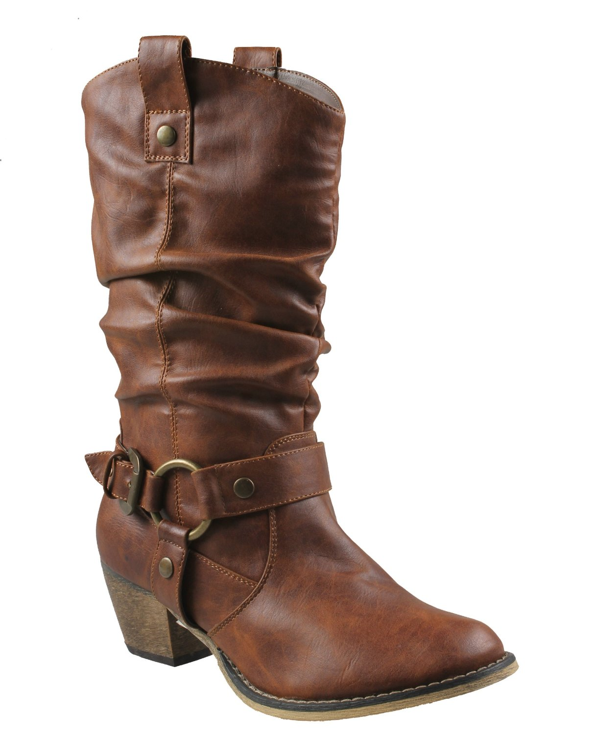 Elegant  Inc Woman Womens Brown Cowboy Style Distressed Effect Mid Length Boots