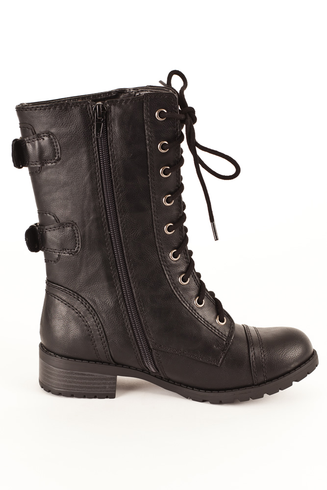 soda dome mid calf height s combat boots
