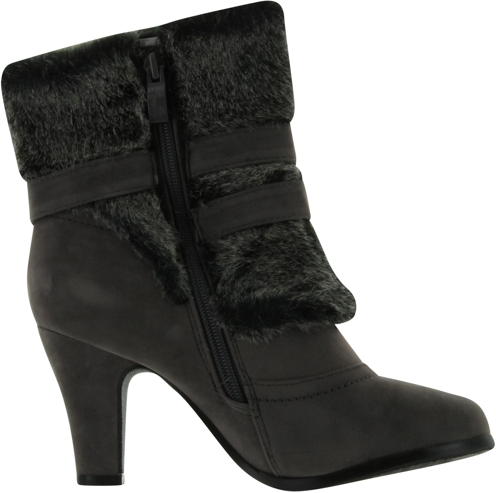 nb200 08 s high heel ankle boots with fur trim