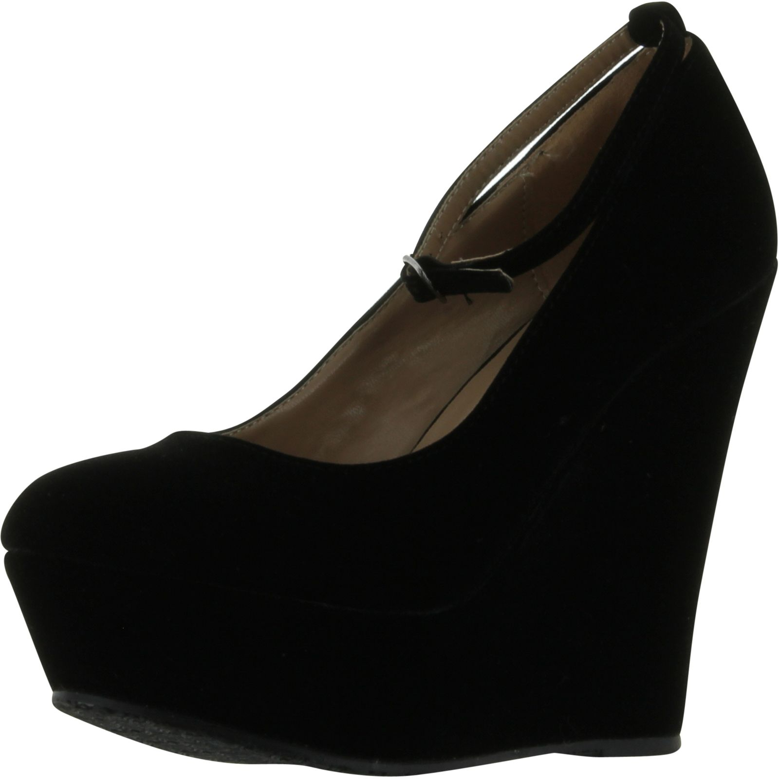 black faux suede toe ankle cover platform