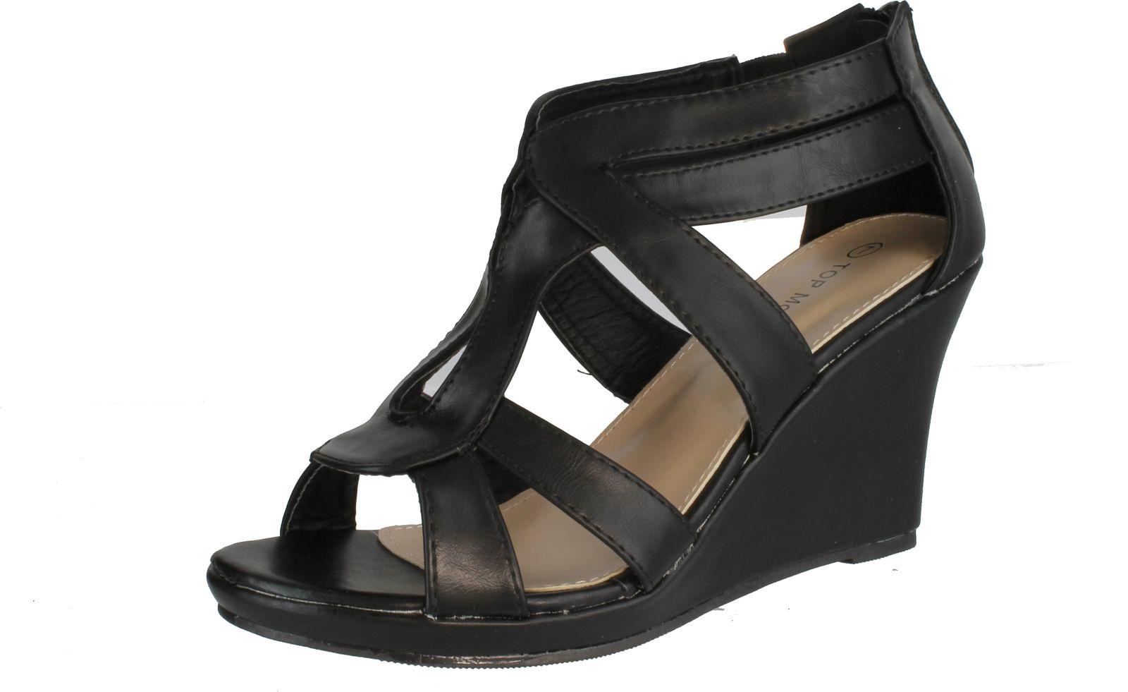 Top Moda Womens Job-8 Gladiator Round Peep Toe Platform Sandals Ankle Strappy Wedge Heel at Sears.com