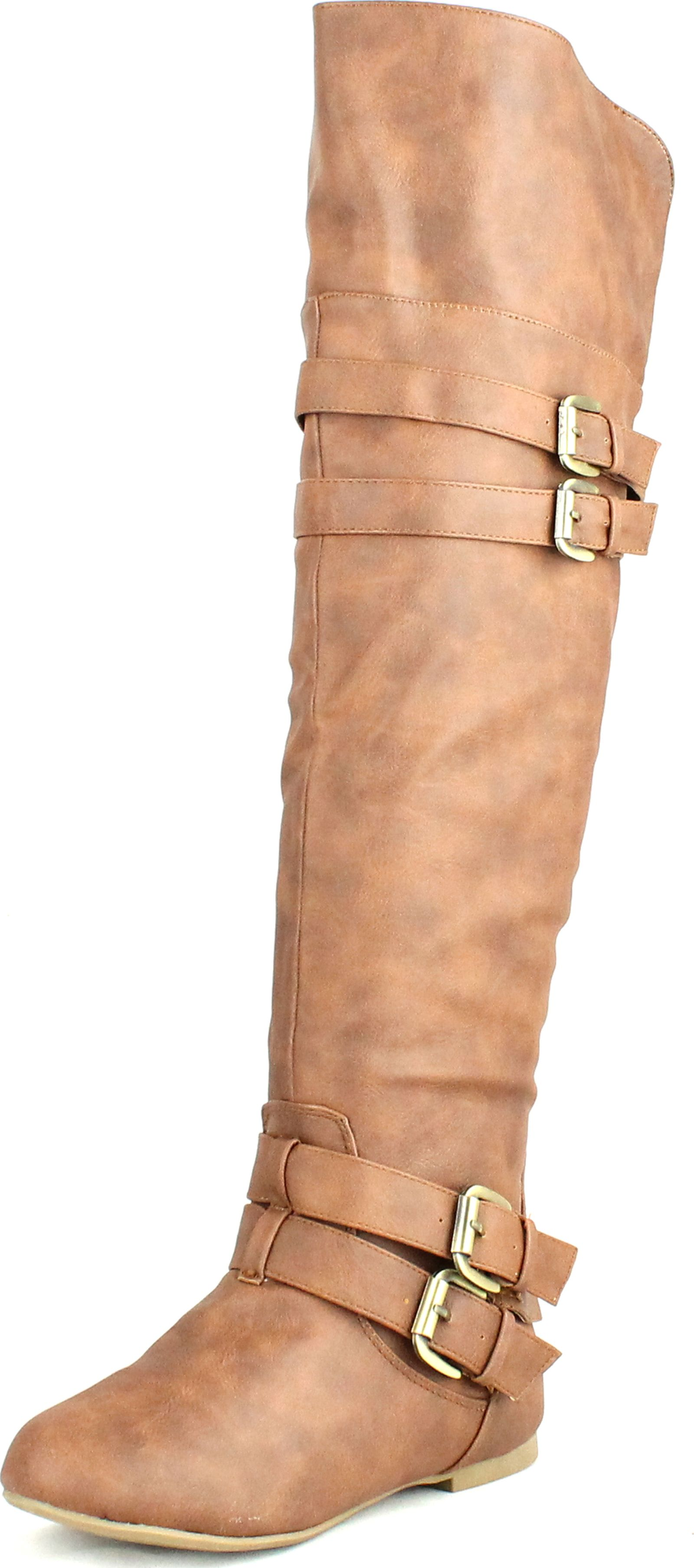 Top Moda Night-79 Women's Round Toe Low Heel Buckle Slouchy Thigh High Boot Shoes at Sears.com