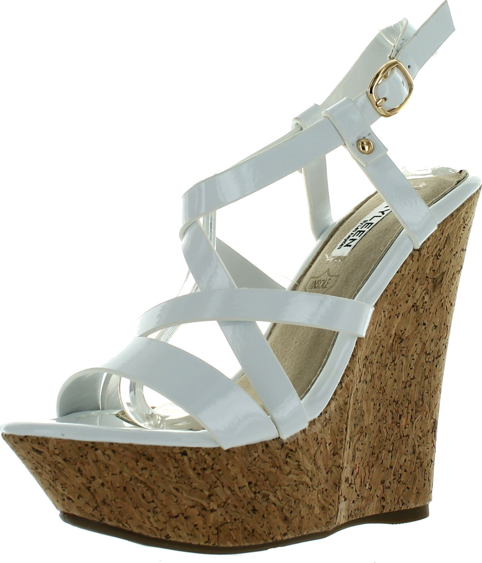 Dame-2 Womens Criss Cross Strappy High Heel Platform Wedge Sandals