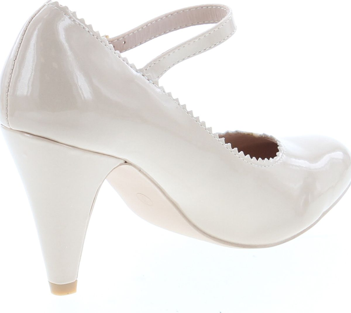 Bella Marie Women/'s Mary Jane Ankle Strappy Scalloped Mid Heel Dress Pump