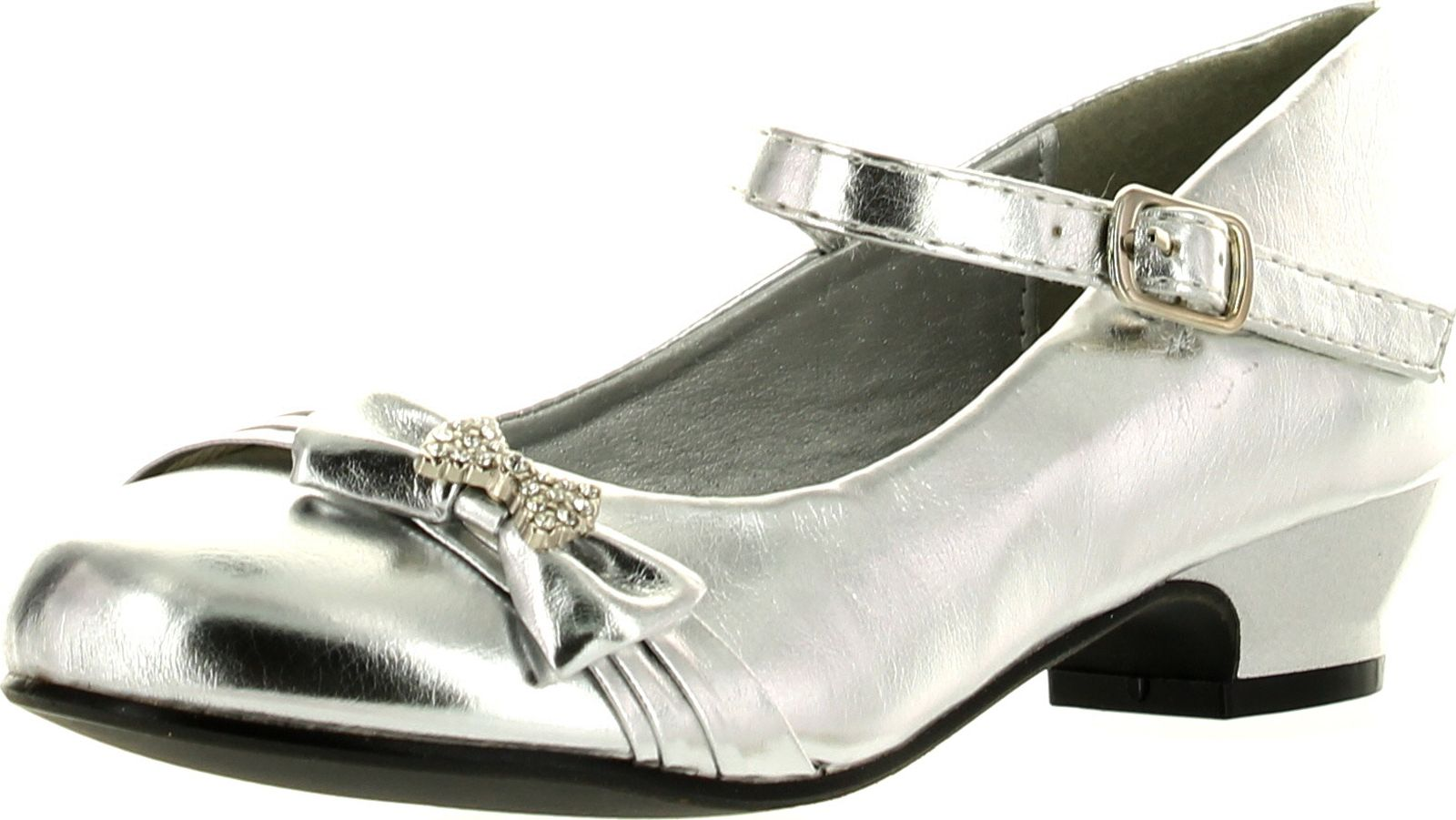 Lasonia Lasonia Girls Mary Jane Shoes With Pretty Satin Rolled Rosettes Patent