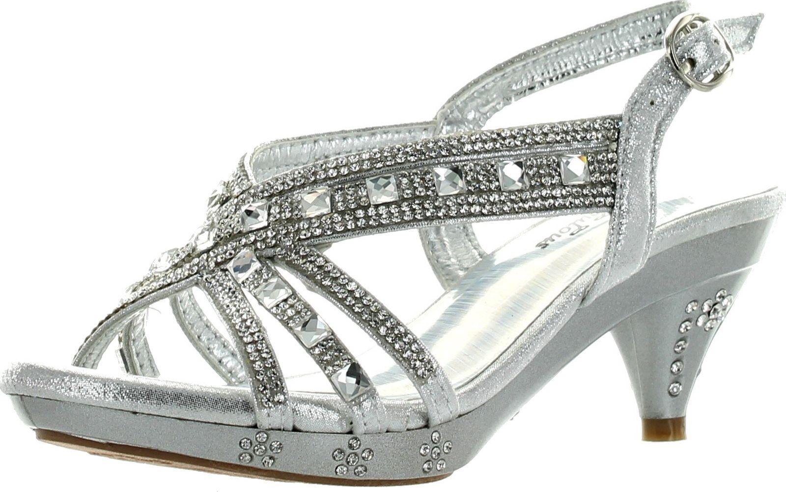 Silver Girls Heels
