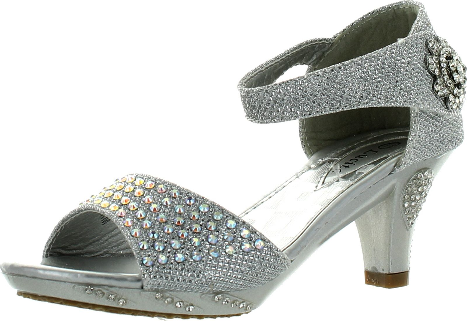 Girls Dress Shoes Lucita Girls Dress Shoes Jan-2Km Rhinestone Heel Platform Dress Sandals Silver