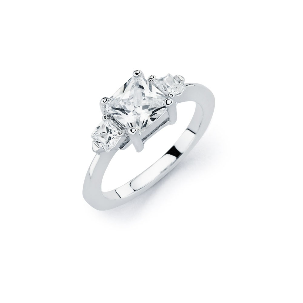 sterling silver 3 engagement ring princess cut