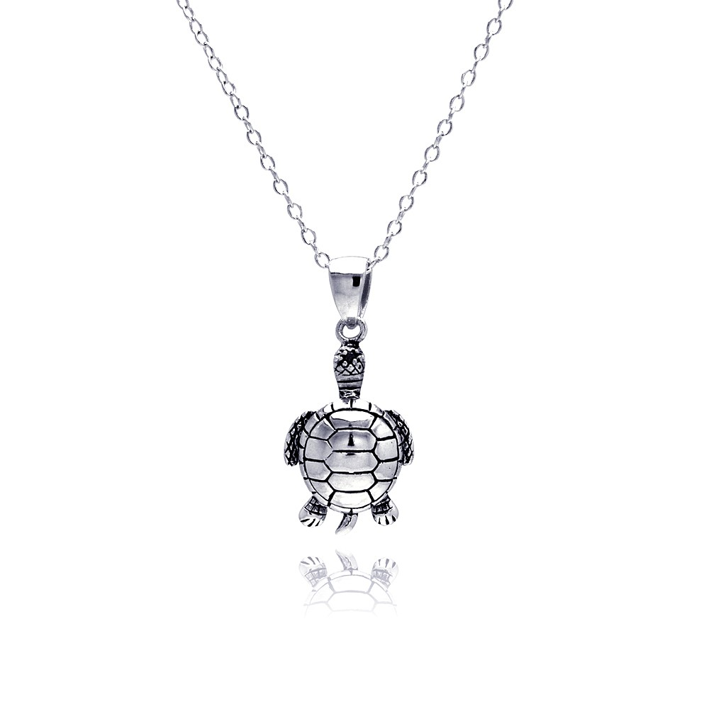 solid sterling silver turtle necklace pendant with chain