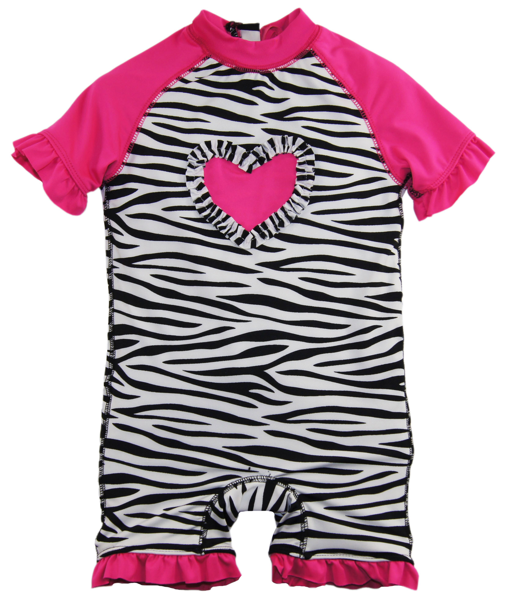 Wippette baby girls zebra ruffle heart once piece swim rash guard tanga for Rash after swimming in pool pictures