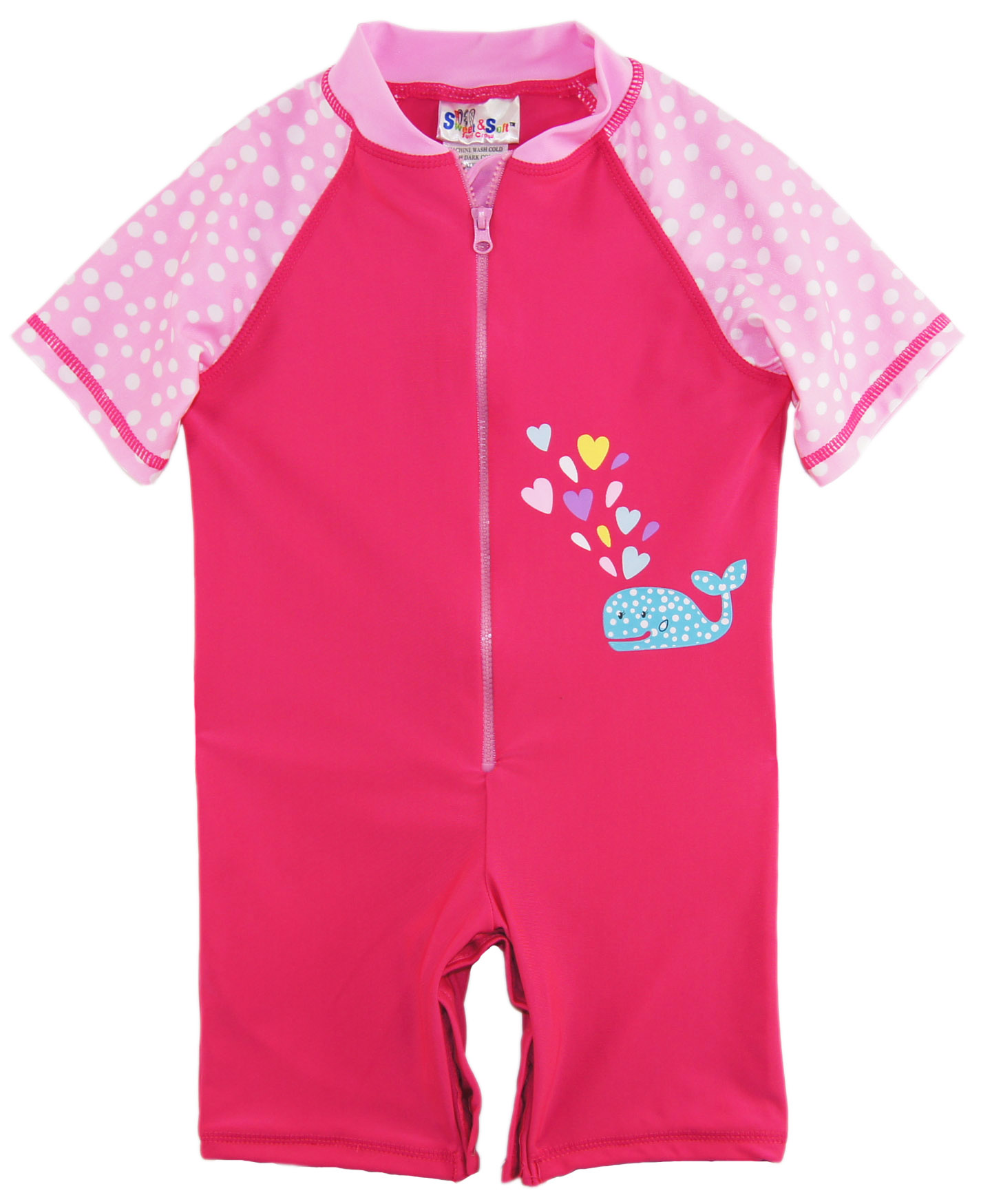 Sweet Soft Baby Girls Cute Whale With Polka Dots 1 Piece