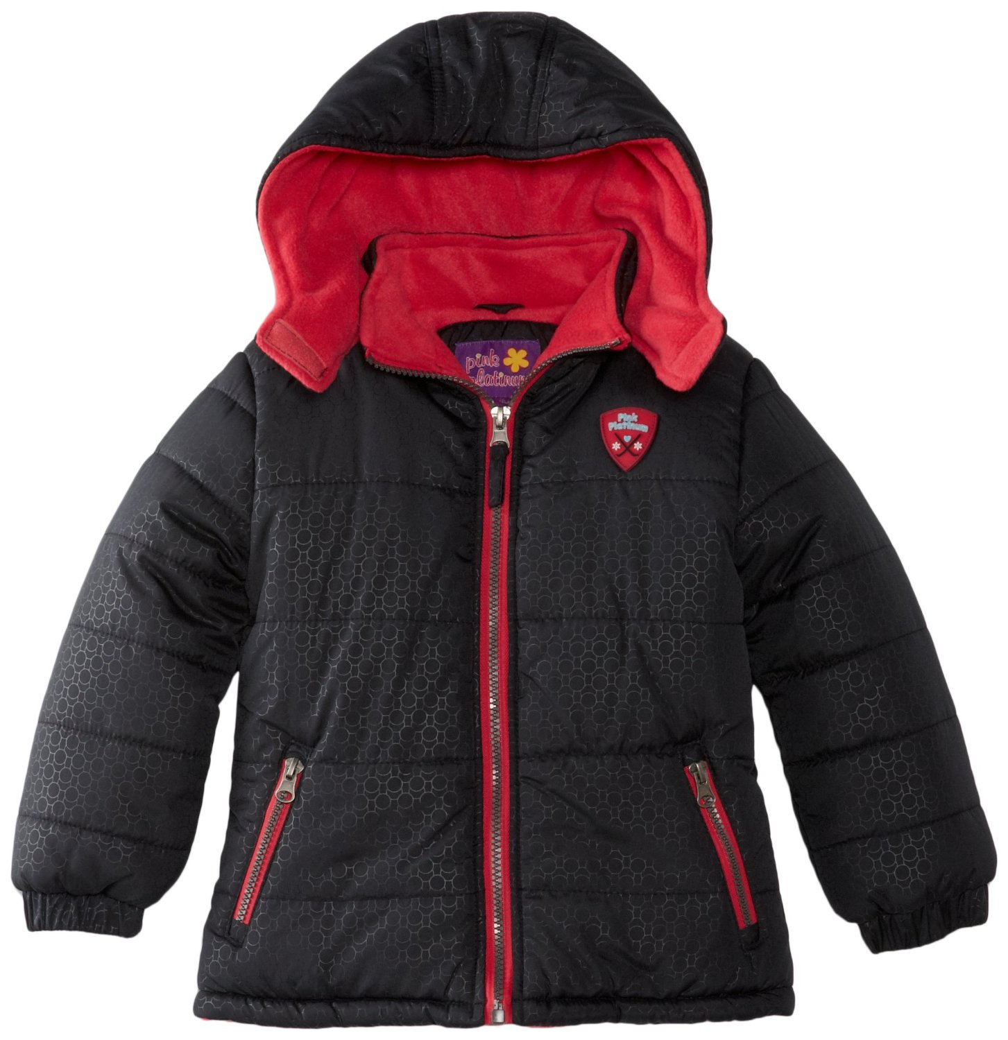 Pink Platinum Toddler Girls Winter Jacket/Coat Black Solid Contrast Zipper 2-4T at Sears.com