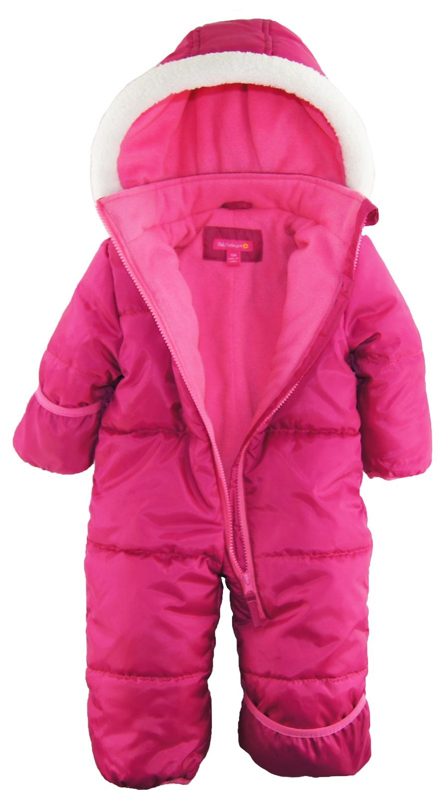 Pink Platinum Baby Girls One Piece Warm Winter Puffer ...